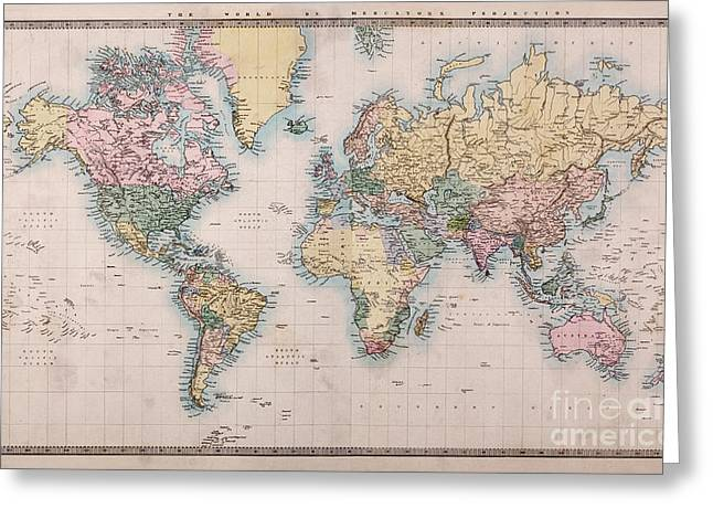 Hand Drawn Photographs Greeting Cards - Old World Map on Mercators Projection Greeting Card by Richard Thomas