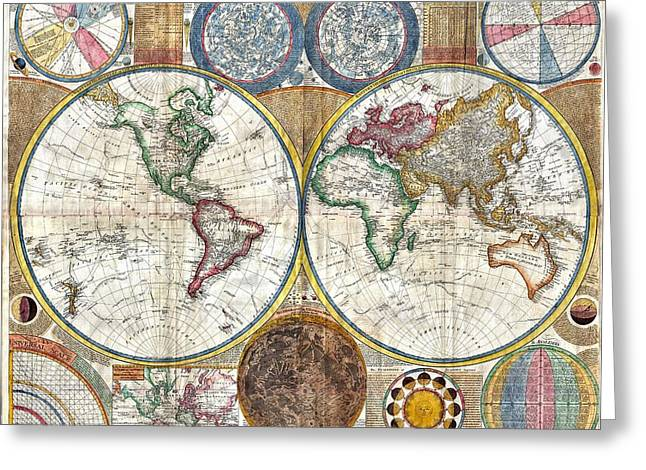Old World Map Print From 1794 Greeting Card by Marianna Mills