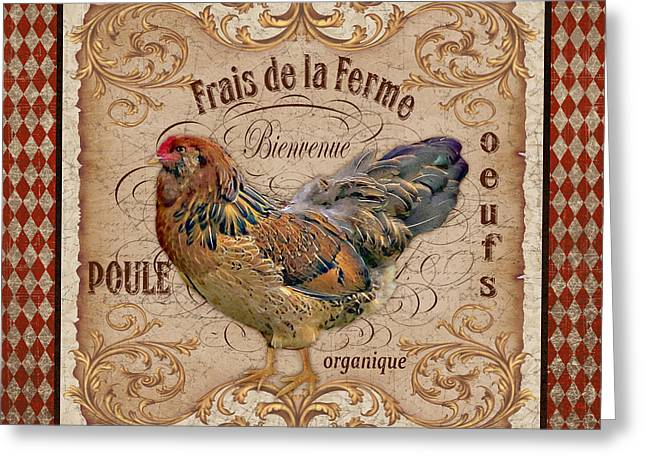 Ferme Greeting Cards - Old World Poule-JP3088 Greeting Card by Jean Plout