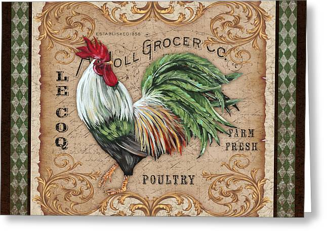 Le Coq Greeting Cards - Old World Rooster-JP3058 Greeting Card by Jean Plout