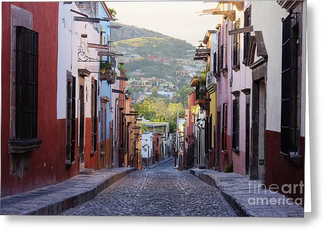 San Miguel De Allende Greeting Cards - Old World Street Greeting Card by Jeremy Woodhouse