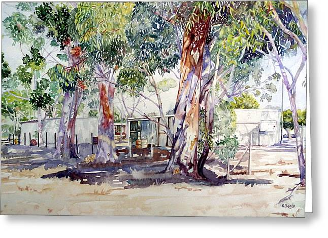 Dismantled Paintings Greeting Cards - Old Yabbie Depot Greeting Card by Kerry Scally