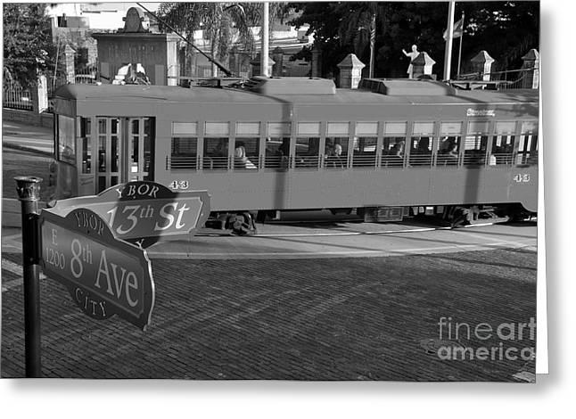 Ybor City Greeting Cards - Old Ybor City trolley Greeting Card by David Lee Thompson