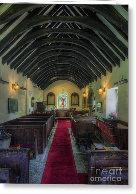 Medieval Temple Greeting Cards - Olde Lamp Church Greeting Card by Ian Mitchell