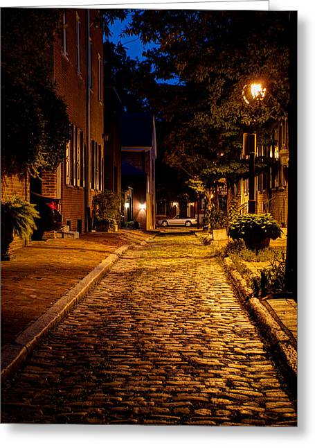 American Independance Photographs Greeting Cards - Olde town Philly Alley Greeting Card by Mark Dodd