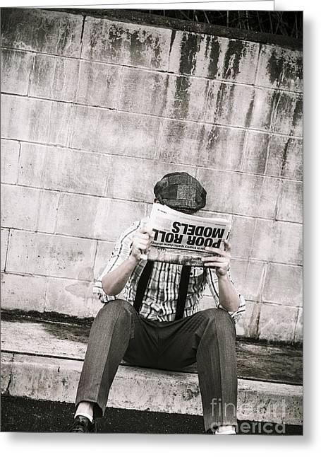 Newspaper Publisher Greeting Cards - Olden day man reading newspaper tabloid Greeting Card by Ryan Jorgensen
