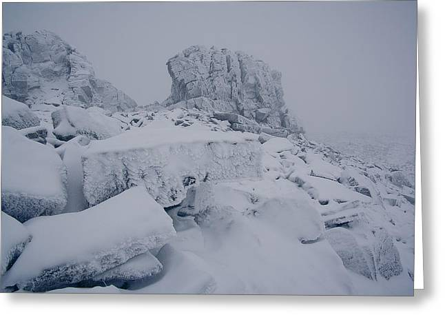 Drifting Snow Greeting Cards - Oldest Mountains Greeting Card by Anton Troshkov