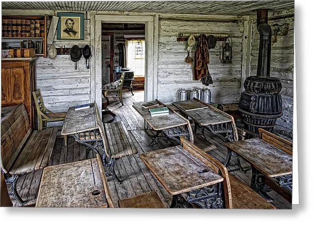 OLDEST SCHOOL HOUSE c. 1863 - MONTANA TERRITORY Greeting Card by Daniel Hagerman