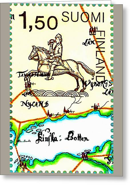 Negotiating Greeting Cards - Oldest Swedish Finnish Postlines Map 1 Greeting Card by Lanjee Chee