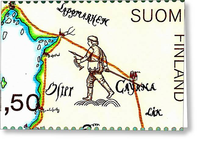 Negotiating Greeting Cards - Oldest Swedish Finnish Postlines Map 4 Greeting Card by Lanjee Chee