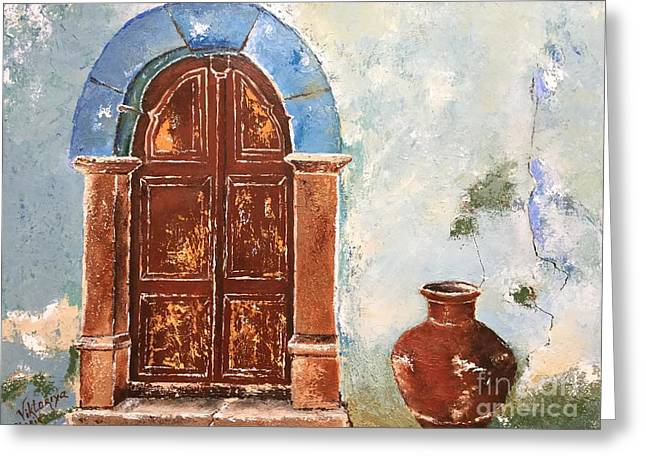 Pallet Knife Greeting Cards - Oldness Of Chios Greeting Card by Viktoriya Sirris