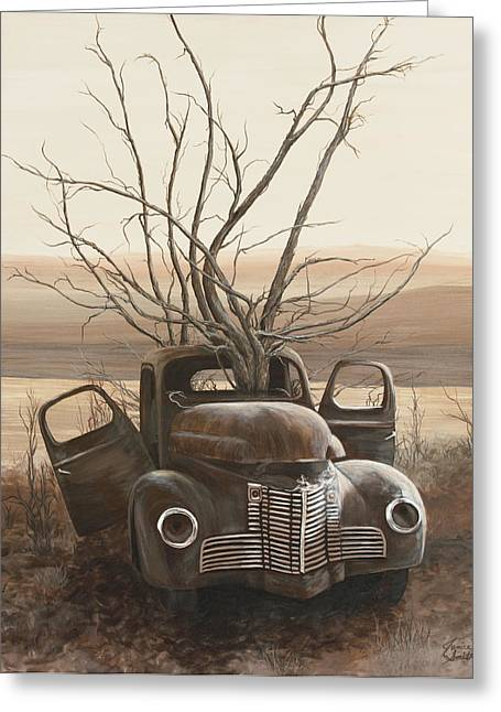 Classic Pickup Paintings Greeting Cards - Ole Bucket Greeting Card by Janice Smith
