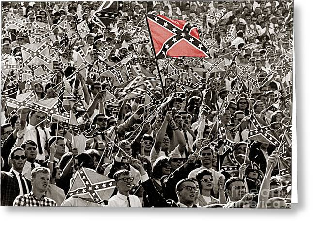 Confederate Flag Greeting Cards - Ole Miss Football Fans 1965 Greeting Card by Bob Pickett