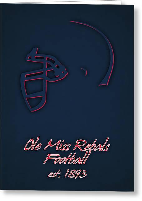 Ole Greeting Cards - Ole Miss Rebels Helmet 2 Greeting Card by Joe Hamilton
