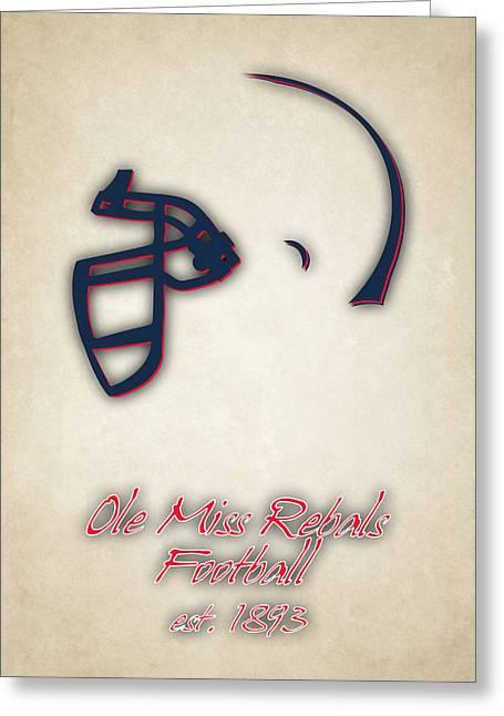 Ole Miss Rebels Helmet Greeting Card by Joe Hamilton