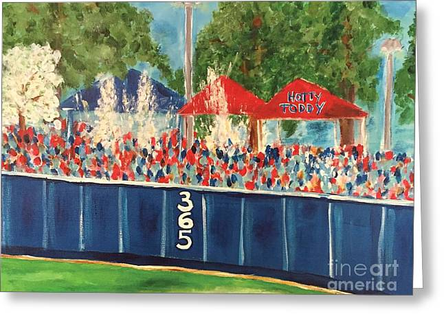 Baseball Paintings Greeting Cards - Ole Miss Swayze Beer Showers Greeting Card by Tay Cossar Morgan