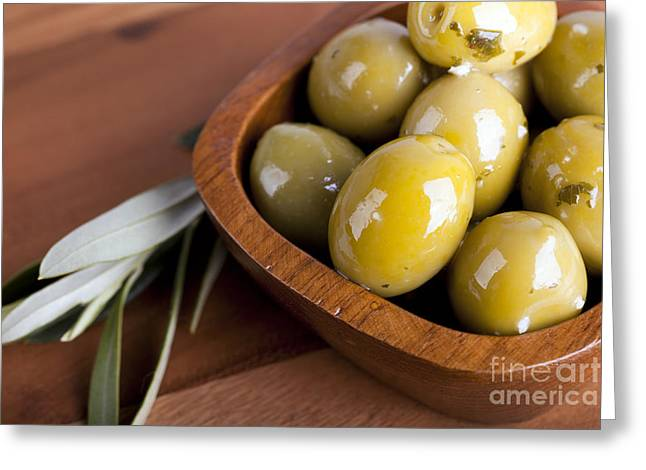 Health Food Greeting Cards - Olive bowl Greeting Card by Jane Rix