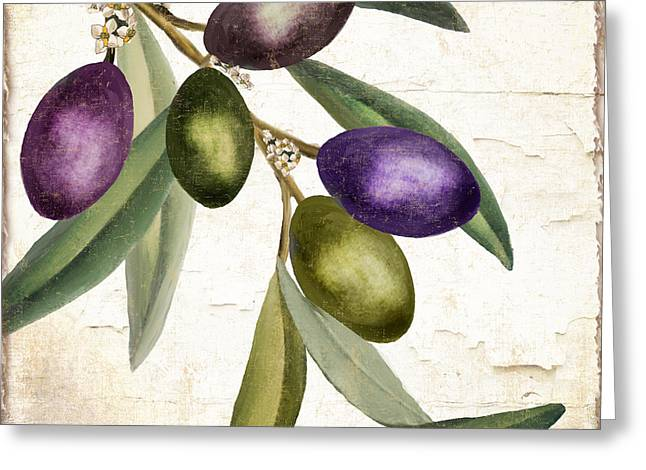 Olive Green Greeting Cards - Olive Branch III Greeting Card by Mindy Sommers