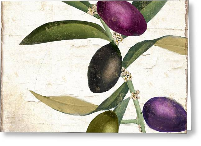 Olive Green Greeting Cards - Olive Branch IV Greeting Card by Mindy Sommers