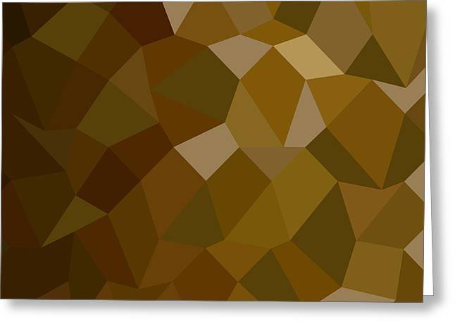 Olive Drab Greeting Cards - Olive Drab Abstract Low Polygon Background Greeting Card by Aloysius Patrimonio