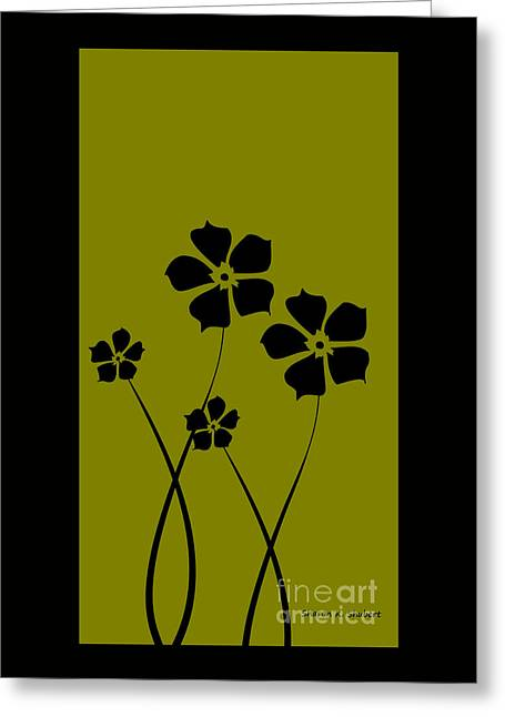 Flower Design Greeting Cards - Olive Green and Black Daisy Design Greeting Card by Sharon K Shubert