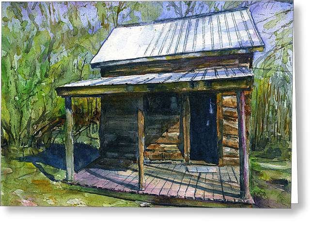 Olive Green Cabin Greeting Card by John D Benson