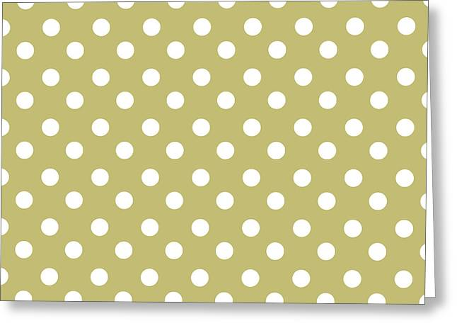 Awesome Tapestries - Textiles Greeting Cards - Olive Green Polka Dots Greeting Card by Bimbys Collections