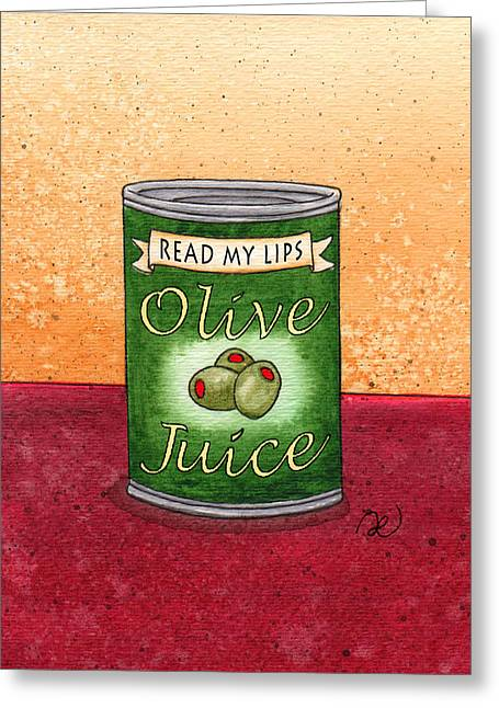 Olive Drawings Greeting Cards - Olive Juice Greeting Card by Lael Borduin