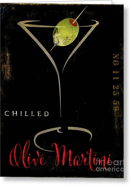 Martini Greeting Cards - Olive Martini Greeting Card by Mindy Sommers
