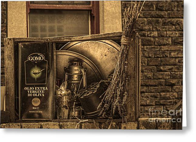 Hurricane Lamp Greeting Cards - Olive Oil Greeting Card by Steve Purnell
