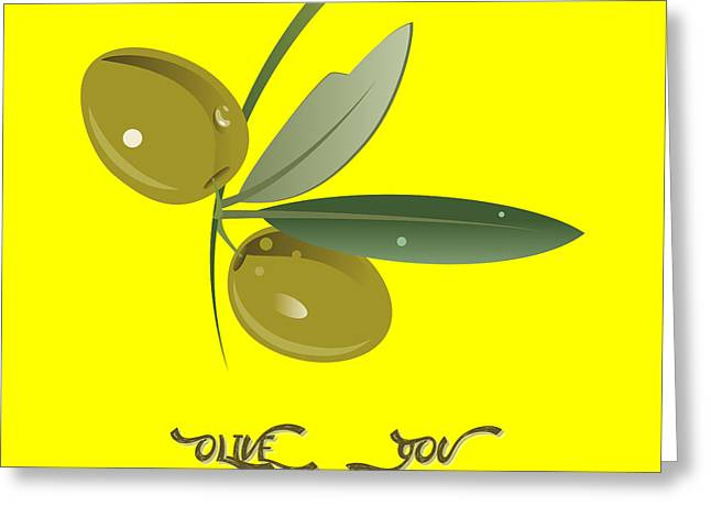 The Kiss Paintings Greeting Cards - Olive You Greeting Card by Celestial Images