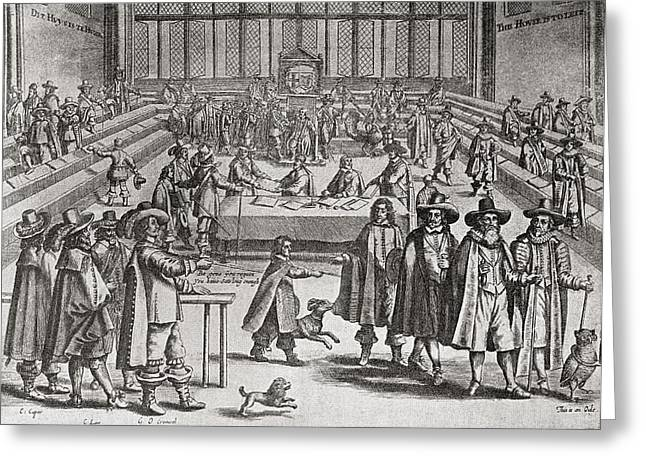 Cromwell Greeting Cards - Oliver Cromwell Dissolving Parliament Greeting Card by Ken Welsh