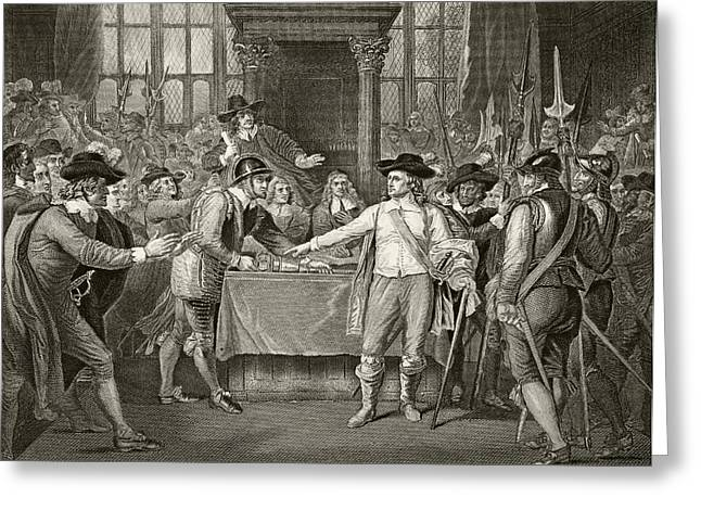Cromwell Greeting Cards - Oliver Cromwell Dissolving The Long Greeting Card by Ken Welsh