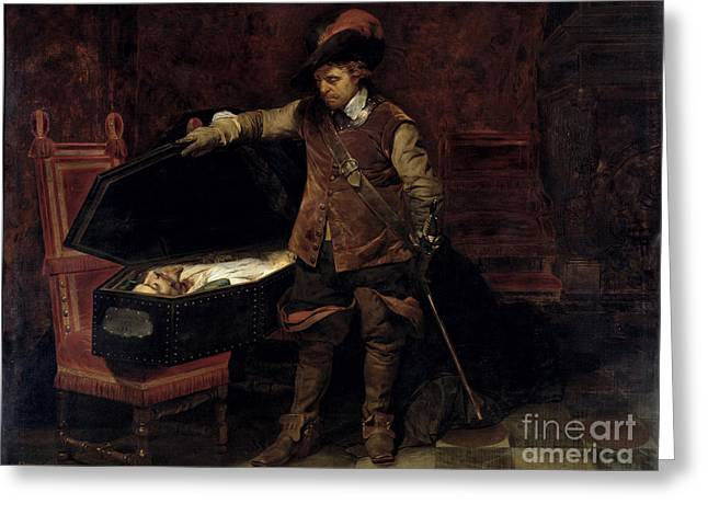 Oliver Greeting Cards - Oliver Cromwell Opening the Coffin of Charles I  Greeting Card by Hippolyte Delaroche