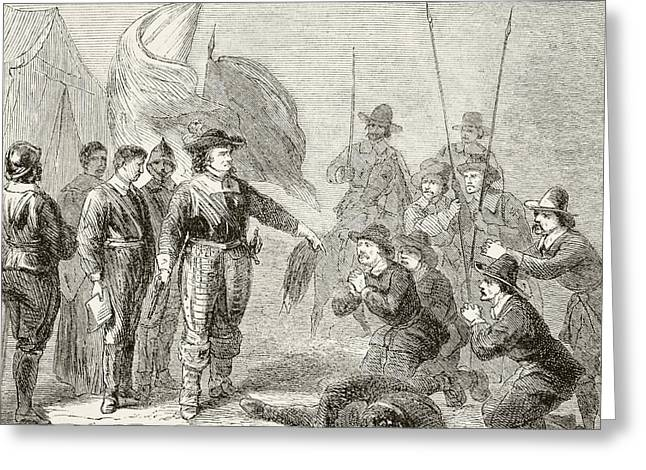 Cromwell Greeting Cards - Oliver Cromwell Suppressing A Leveller Greeting Card by Ken Welsh