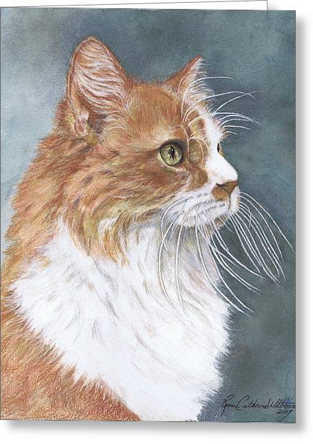 Pussy Mixed Media Greeting Cards - Oliver Greeting Card by Renee Catherine Wittmann