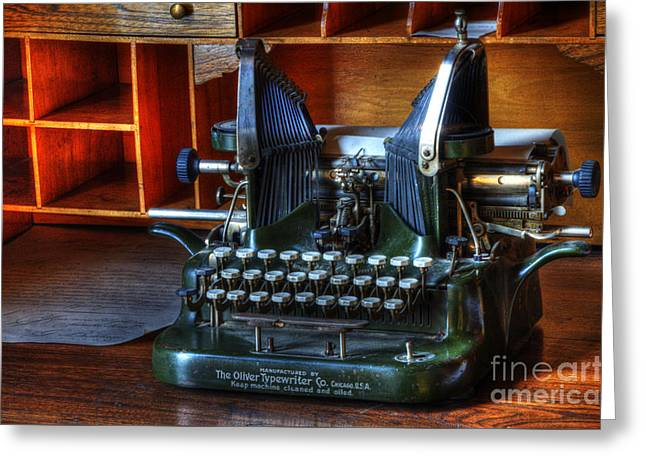 Oliver Typewriter Greeting Card by Bob Christopher