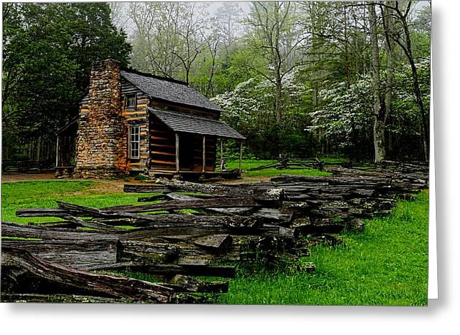 Historic Home Greeting Cards - Olivers Cabin Among The Dogwood Of The Great Smoky Mountains National Park Greeting Card by Carol R Montoya