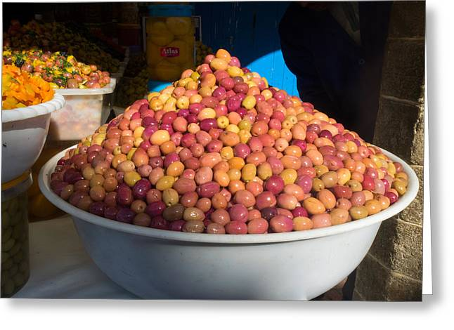 Essaouira Greeting Cards - Olives For Sale In Market, Essaouira Greeting Card by Panoramic Images