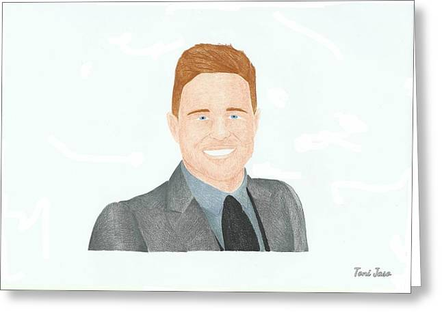 British Celebrities Greeting Cards - Olly Murs Greeting Card by Toni Jaso