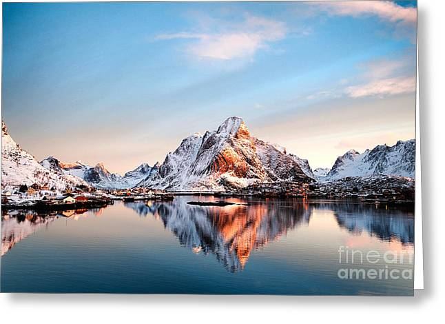 Olstind Reflection Greeting Card by Janet Burdon