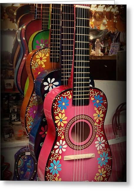 Toy Guitar Greeting Cards - Olvera Street Vendors Greeting Card by Karyn Robinson