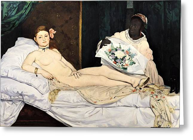 Prostitute Greeting Cards - Olympia Greeting Card by Edouard Manet