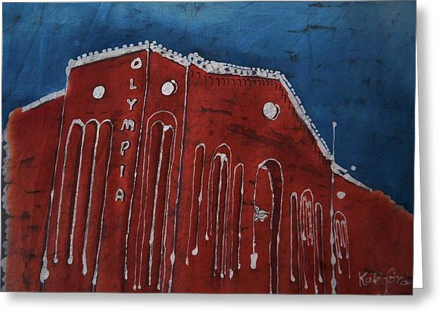 Hockey Tapestries - Textiles Greeting Cards - Olympia Stadium Detroit Greeting Card by Kate Ford