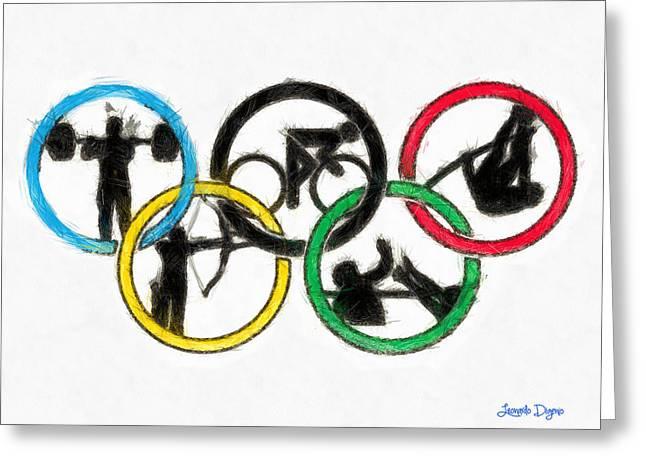 Olympic Games Symbol - Pa Greeting Card by Leonardo Digenio