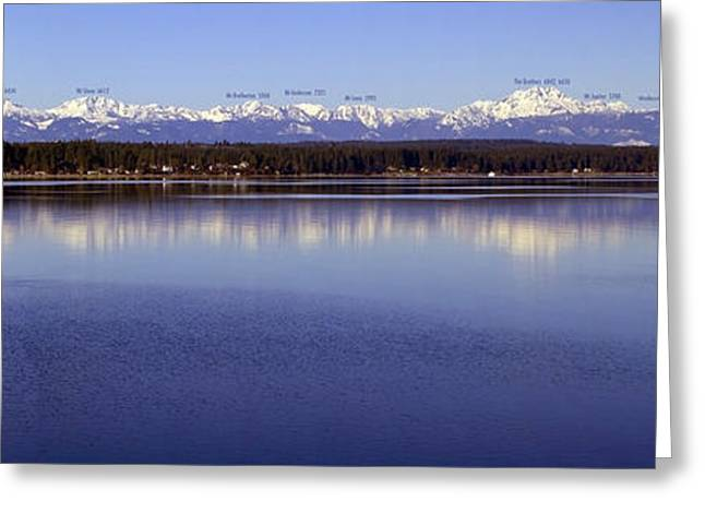South Puget Sound Greeting Cards - Olympic Mountains Peaks and Elevations Greeting Card by Kathy Bauer
