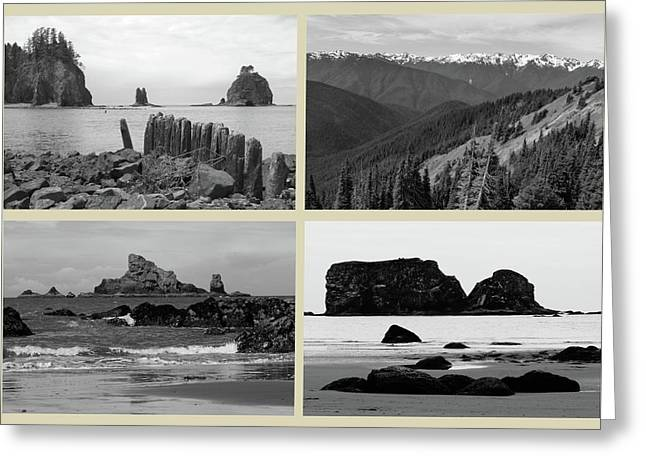Olympic National Park Cream Collage Greeting Card by Dan Sproul