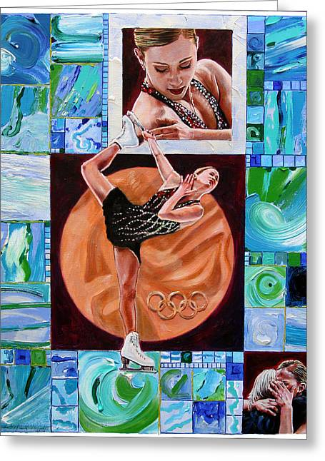 Figure Skater Greeting Cards - Olympic Spirit - Joannie Rochette Greeting Card by John Lautermilch