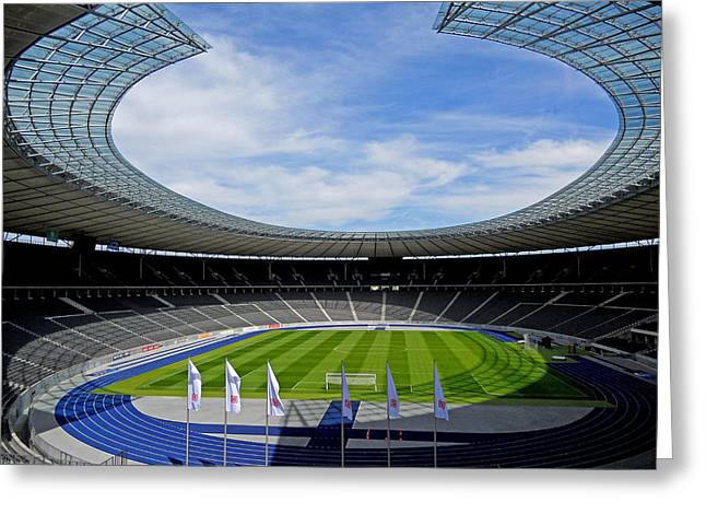 Deutschland Photographs Greeting Cards - Olympic Stadium Berlin Greeting Card by Juergen Weiss