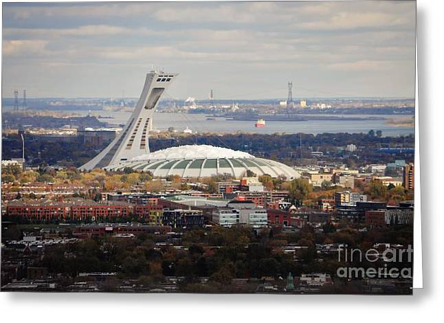City Of Montreal Paintings Greeting Cards - Olympic Stadium  Greeting Card by Reb Frost